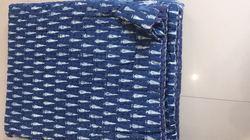 Indigo Blue Hand Block Print Kantha Queen Size Quilt