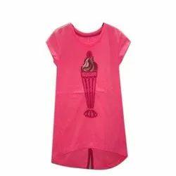 Half Sleeve Round Ladies Pink T Shirt