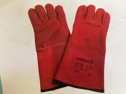 Free Size Red Leather Safety Hand Gloves, for Construction