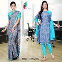 Sky Blue and Purple Italian Crepe Uniform Saree Salwar Combo