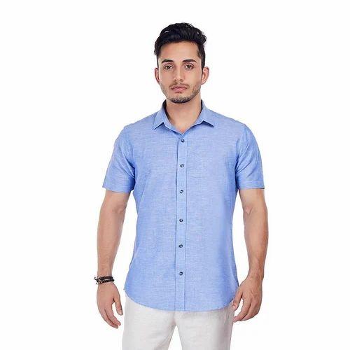 920ba6ed Men's Cotton Sky Blue Half Sleeve Shirt, Size: S-XXL, Rs 220 /piece ...