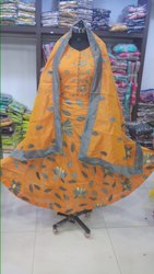 A Line Dress Dupatta Work