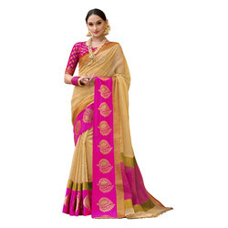 Beige & Pink Colored Festive Wear Cotton Silk Saree