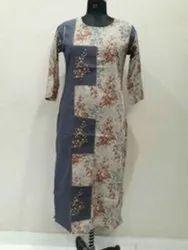 Casual Wear 3/4th Sleeve Rayon Kurti, Handwash