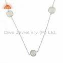 Fine Silver Rainbow Moonstone Gemstone Necklace