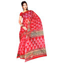 Red Printed Kota Doria Saree