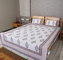 Damask Striped Cotton Comforters Decorative Boho Hand Block Printed Double Bed Sheet