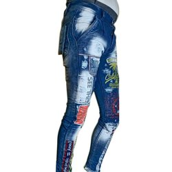 Dark Blue Denim Mens Comfort Fit Patched Jeans