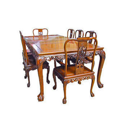 Brown Living Design Wooden Carved Dining Table Set