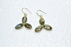 925 Sterling Silver Three Stone Natural Labradorite Micron Gold Plated Gemstone Earring