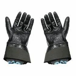 Polyurethane Black Leather Safety Gloves, Size: Medium