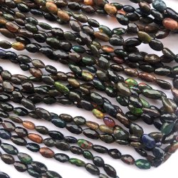 Natural Black Ethiopian Opal Stone Faceted Oval Beads Strand
