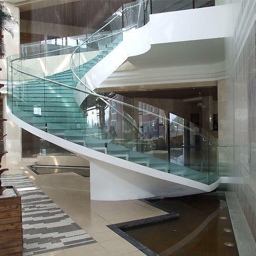 Glass Stair Railings Interior: Spiral Glass Hand Railing At Rs 1200 /running Feet