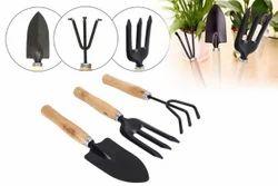 0542 Gardening Tools - Garden Tool Wooden Handle (3pcs-Hand Cultivator, Small Trowel, Garden Fork)