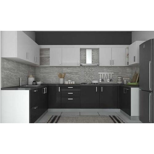 Black And White Solid Surface Modular Kitchen