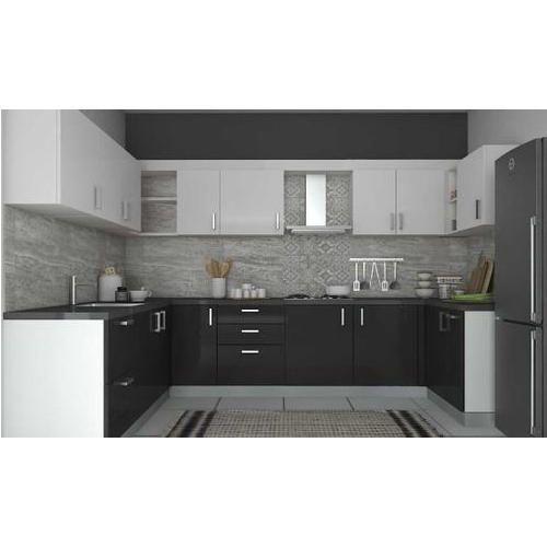 Modular Kitchen Price Range In Bangalore Modular Kitchen: Black And White Solid Surface Modular Kitchen, Rs 1000