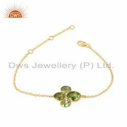 Peridot Gemstone Designer Gold Plated Silver Chain Bracelet