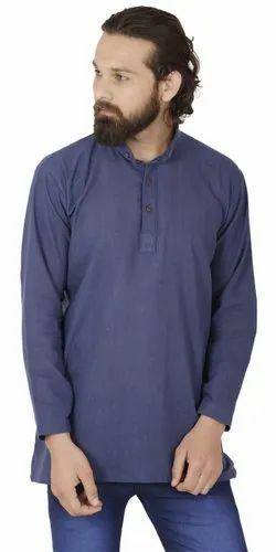 3ae00a2f4 Short Kurta - Skavij Mens Short Sleeve Casual Button Down Khadi Kurta  Manufacturer from Gurgaon