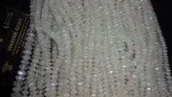 Natural White Rainbow Moonstone Faceted Rondelle Beads Strands Necklace