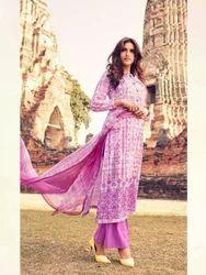 Purple Salwar Kameez in Cambric