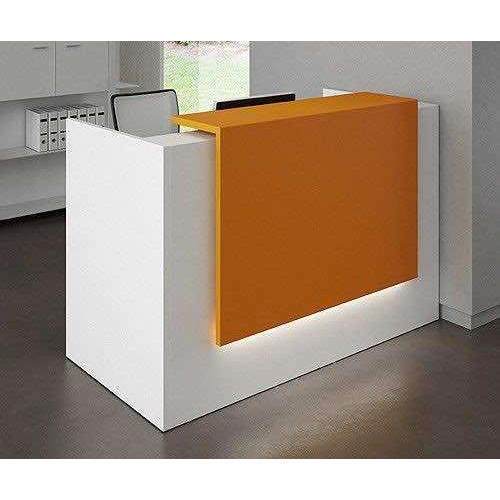 office reception counter. White And Orange Office Reception Counter