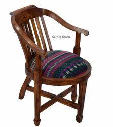Sheesham Teak Rosewood Carving Retro Vintage Hand Rest Upholestry Cushion Seat Indian Hotel Chair
