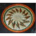 Multicolor Hand Woven Moonj Plate & Chapati Server