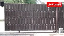 Black Mild Steel Motorised Gate, For Industrial
