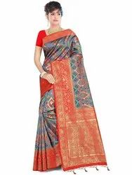 Exclusive Cotton Silk Saree With Blouse By Parvati Fabric