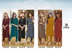 Reyon silk Formal Wear ETHANIC KURTI WITH PENT, Wash Care: Dry clean