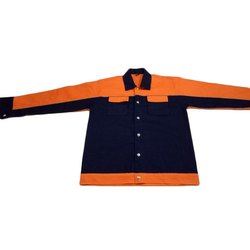 Full Sleeves Blue and Orange Industrial Safety Cotton Drill Jacket, Size: S-XXL