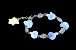 Twisted Glass  Beads With Casting Fish Shape Beads Bracelet