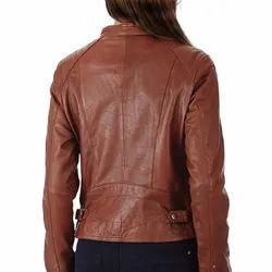 Brown Ellena Women's Perfect Fit Genuine Napa Leather Jacket