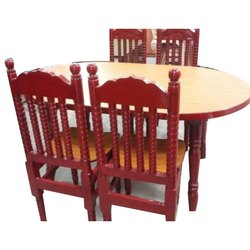 Oval Shape (Table) 4 Seater Wooden Dining Table Set, For Home