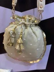 Gold Potli Bag With Embroidered Belt