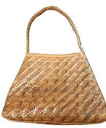 Mon Exports Brown Weaved Leather Hand Bag