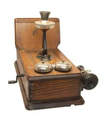 Antique Vintage Wooden And Brass Kellogg Wall Phone