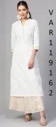 White Long Cotton Kurtis