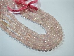 8mm Rose Quartz Micro Faceted Rondelle Stone Beads