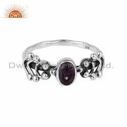Oxidized 925 Silver Designer Amethyst Gemstone Rings