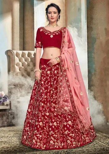 954da4b0f0 Indian Ethnic Designer Nylon Satin Bridal Lehenga Choli ...