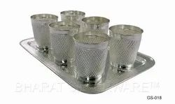 Pure Silver Glass Set With Tray