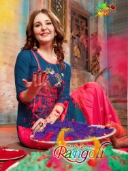 Rangoli Vol -1 Festival For New Latest Designer Rayon Kurtis With Sharara