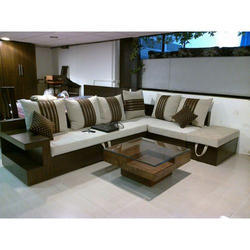 Wooden L Shape Designer Sofa Set