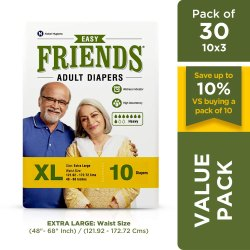 Friends Easy Adult Diapers Extra Large Size Waist 48-68 Inch