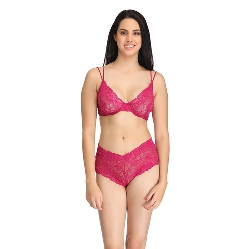 c69438431e Pink Underwired Lace Bra   Mid Waist Lace Hipster