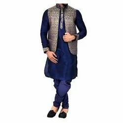 Silk Blend Fabric Large Partywear Jacket Kurta Pajama Set Rs