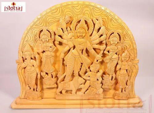 Maa Durga slaying Mahishasura - Wooden Art