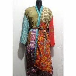 Vintage Silk Sari Kimono Woman's Bath Robe Baho Maxi Gown Dress