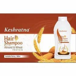 Liquid Keshratna Almond And Wheat Protein Hair Shampoo, Packaging Type: Plastic Bottle